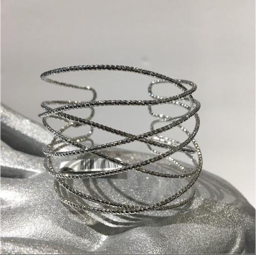 Wire cuff bracelet silver