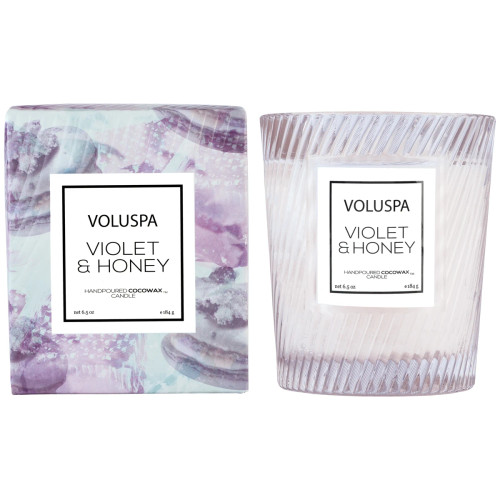Voluspa Violet Honey Glass Boxed Candle