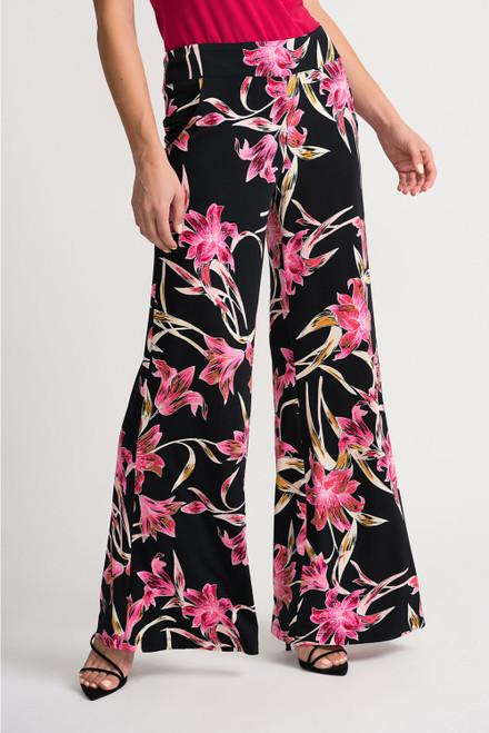 Joseph Ribkoff  Black and Pink Floral Pants