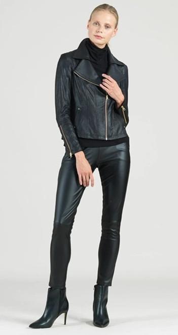 CSW Blk Liq Leather Jkt