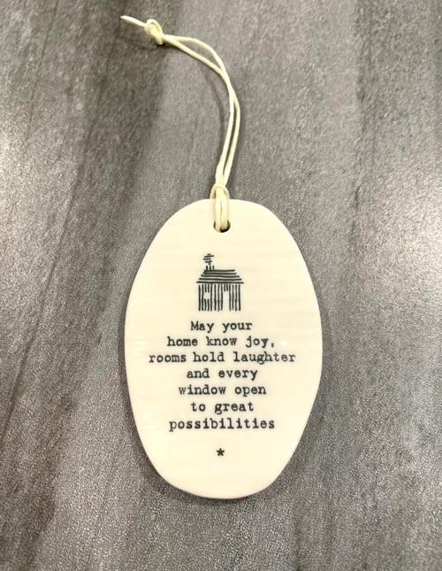 Porcelain hanging plaque.