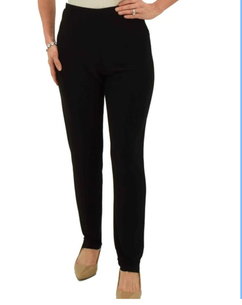 When you want more coverage than ankle-length pants provide, these full-length pants are perfect. They have a narrow leg that is more relaxed than a skinny pant. To give you the sleekest shape possible, these long pull-on pants are devoid of pockets or belt loops.   95% Polyester 5% Spandex Hand wash cold. Hang dry. Misses sizes