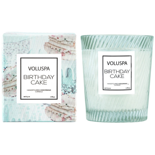 Voluspa Birthday Cake Glass Boxed Candle
