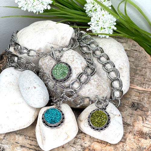 Teal, olive or  peridot