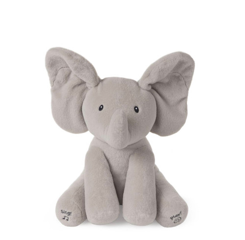 ANIMATED FLAPPY, 12 IN Hello, baby! Flappy the elephant is always ready to play with baby. Animated plush Flappy the Elephant by Baby GUND is an adorable singing elephant with two different play modes. Press the left foot to play an interactive game of peek-a-boo with Flappy's ears flapping up and down to delight baby, and the right to hear the song Do Your Ears Hang Low in a cute child's voice with Flappy's ears moving in time to the music! Flappy, our best-selling plush, with embroidered features, super soft limbs, and huggable body is safe for all ages and ready to be baby's best friend right from the start!