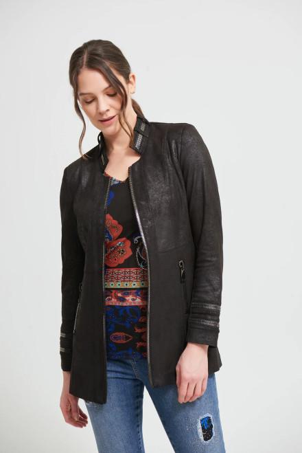 JR 3/4 Faux Leather Jkt. Black