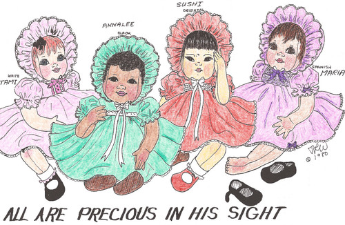 "All Are Precious In His Sight - 22"" Vintage Cloth Baby Doll Sewing Pattern by Judi Ward"
