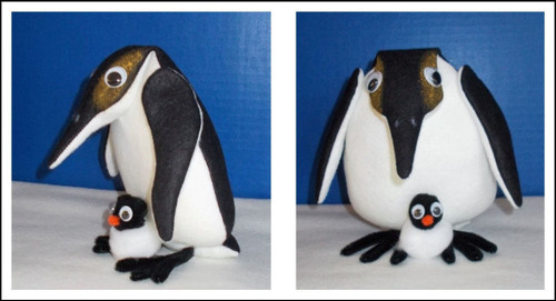 Pete Penguin and Little Petey - Cloth Animal Doll Sewing Pattern by Judi Ward