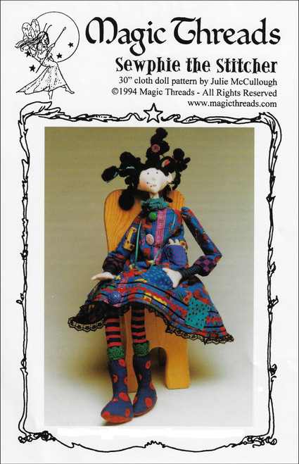 "Sewphie the Stitcher - 30"" Cloth Doll Sewing Pattern - PDF Download Pattern by Julie McCullough of Magic Threads"