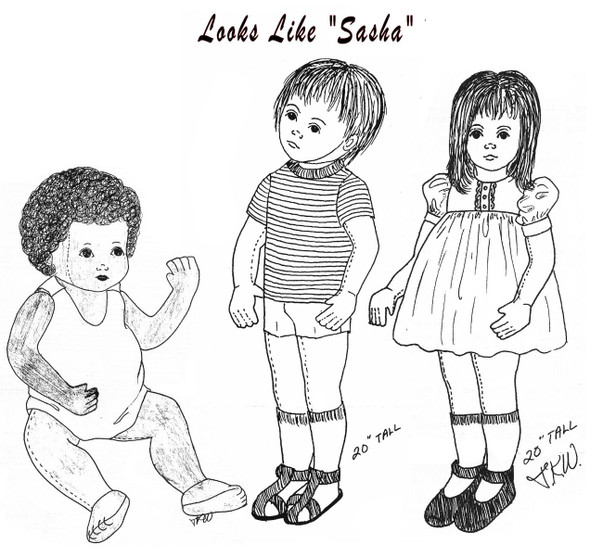 "Looks Like ""Sasha"" Baby, Boy and Girl - 3 Vintage  Cloth Doll Sewing Patterns by Judi Ward"