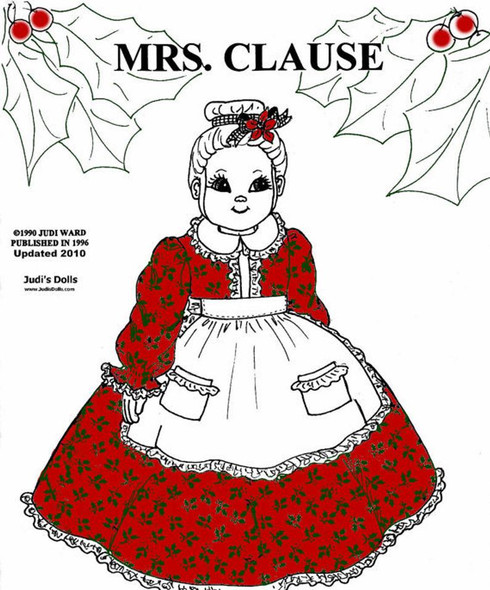 Mrs. Clause, Santa's Wife Cloth Doll Making E-Pattern - PDF Download Sewing Pattern