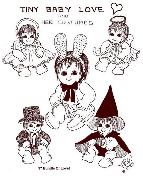 Tiny Baby Love and Her Costumes ~ Cloth Doll Making E-Pattern - PDF Download Sewing Pattern