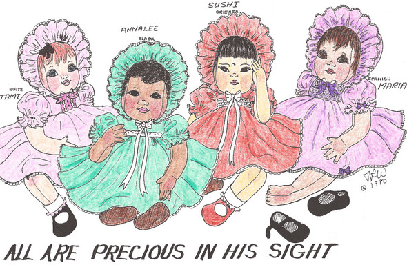 """All Are Precious In His Sight - 22"""" Vintage Cloth Baby Doll Sewing Pattern by Judi Ward"""