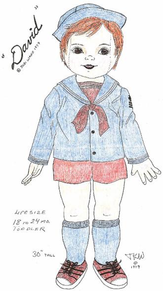 David -  Vintage Cloth Doll Sewing Pattern by Judi Ward