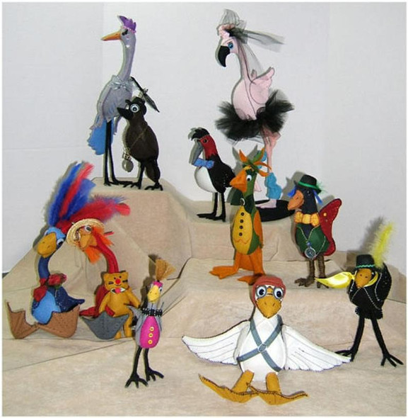 Silly Birds - Cloth Doll Animal Making E-Pattern - PDF Download Sewing Pattern