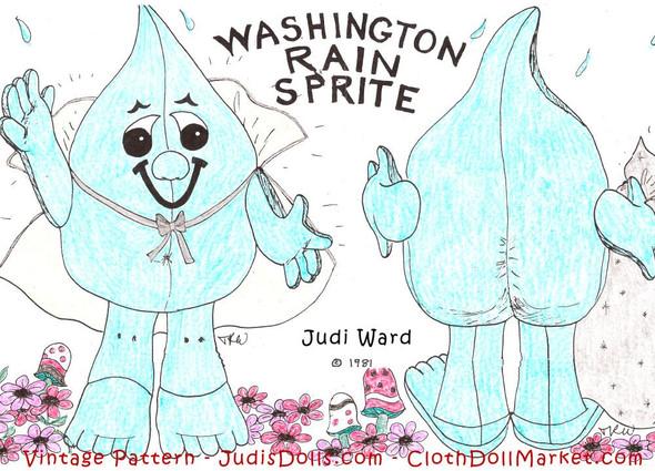 Washington Rain Sprite -  Vintage Cloth Doll Sewing Pattern by Judi Ward