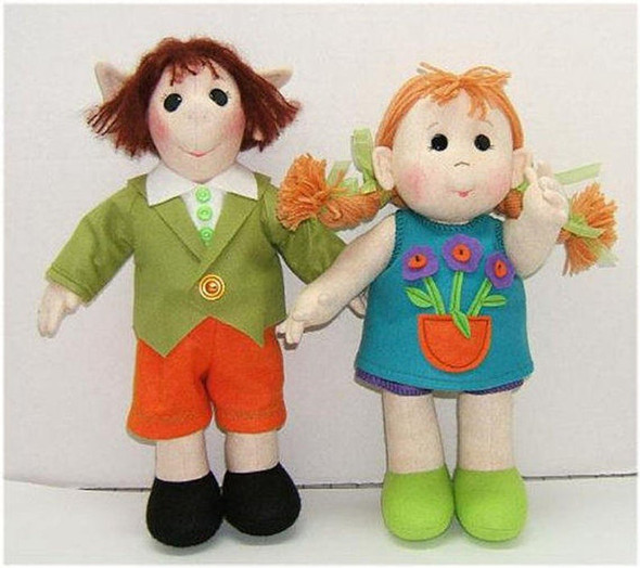 Girl and Little Elf   - Cloth Doll PDF Download Sewing Pattern - E-Pattern