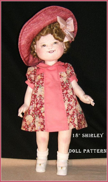 """Shirley Temple - 18"""" Doll Pattern (Doll Pictured in Red/Pink)"""