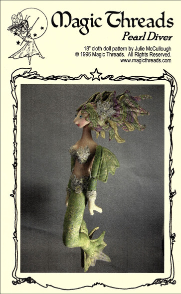 """Pearl Diver - 19"""" Mermaid Cloth Doll Sewing Pattern - PDF Download Pattern by Julie McCollough of Magic Threads"""