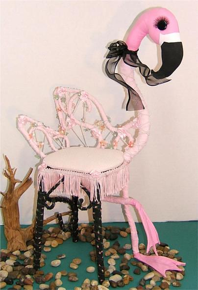 Fantasy Flamingo Chair  - Silly Bird Cloth Doll by Judy Ward!