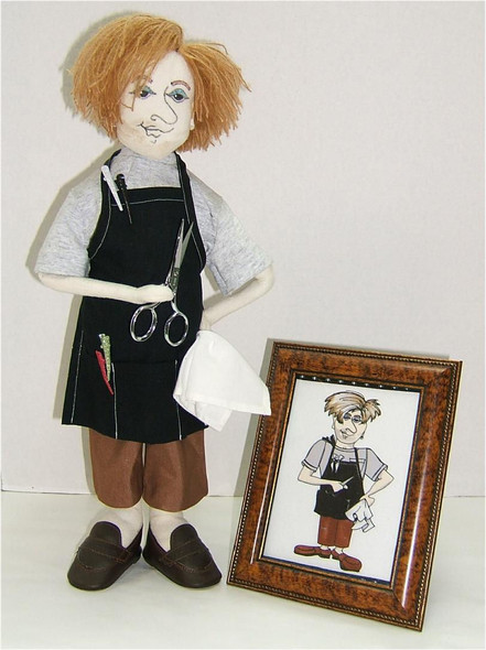 """Barber and barber picture...18""""...Original design for a doll club challenge. Cloth Doll by Judi Ward"""