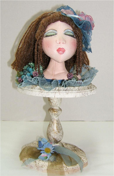 """.Blue Bust...14""""...Gorgeous face and she makes a wonderful decor piece...She is part of the Whatever class! Original Cloth Doll Bust by Judi Ward"""