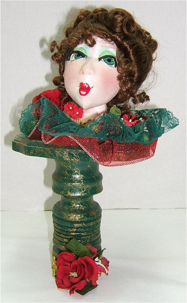 Christmas Bust...  Original Cloth Doll Bust by Judi Ward  downsizing... moving... clearance... retiring  SALE!  Gorgeous face and she makes a wonderful decor piece... She is part of the Whatever class!