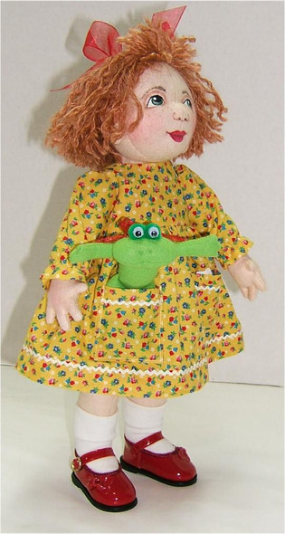 "Little Elfin girl With Frog...  14"" Wool Felt Original Doll by Judi Ward.  Little Elfin girl with a frog in her pocket...She is made from wool felt...14"""