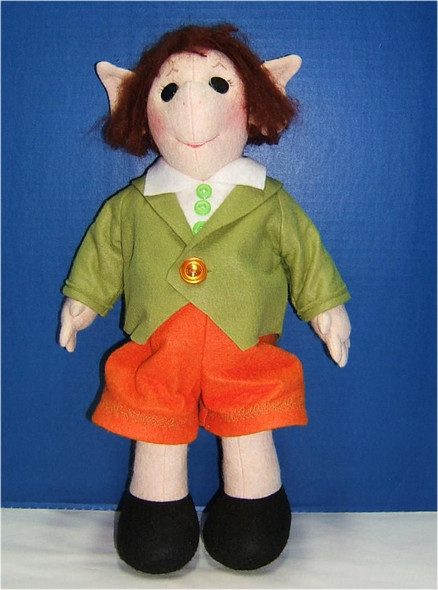 """Grindel Elf... 15""""... Part of the E BIN PATTERN that Emma is made from... He is made from wool felt and dressed in felt...  Original Wool Felt Doll by Judi Ward"""