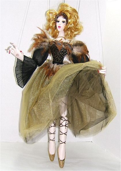 """Mary Annette in Gold... Original Cloth Marionette Doll by Judi Ward. Doll alone about 32""""... about 44"""" when you include the marionette controller... Mary Annette has been taught several times and is a fabulous, very advanced cloth"""