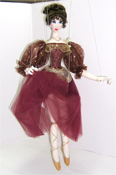 Mary Annette in Wine... Original Cloth Marionette Doll by Judi Ward
