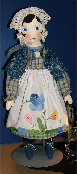 """Evalinnia.... 18""""...   will be featured in the Soft Dolls and Animals, January and April, 2017 issue.   She is a sweet, vintage style doll with a wonderful hand appliqued apron... Original Cloth  Doll by Judi Ward.."""