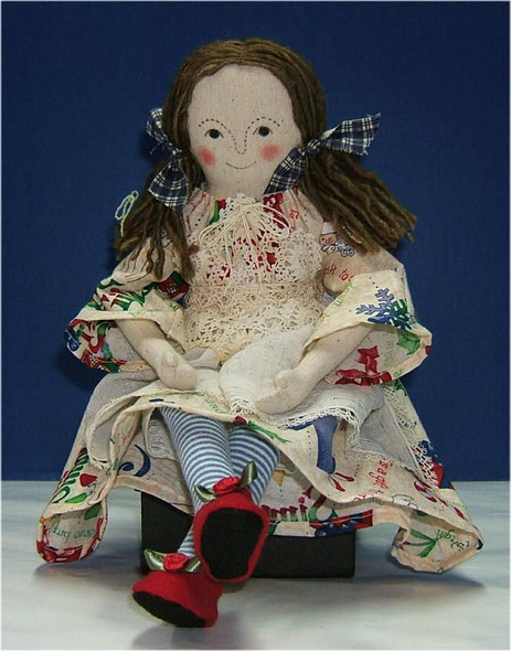 """Polly... 14"""" Original Cloth Rag Doll by Judi Ward.  She has a vintage, embroidered, hanky apron and vintage lace apron top..."""
