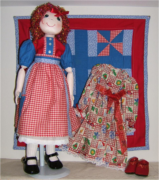 """Noelle and Quilt... 21"""" Original Cloth Play Doll by Judi Ward. Made from my 1st quilt pattern and with an extra dress... Noelle is about 21"""" tall and makes a great play doll for a special child.."""