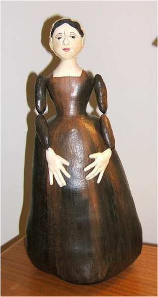 """Original Prototype Doll by Judi Ward.  Ancient Wooden Doll... About 21""""... This collectible was made to depict a real, ancient wooden doll from Italy that sold for $21,000.00 on EBay!!!! She is all painted cloth and looks just like wood."""