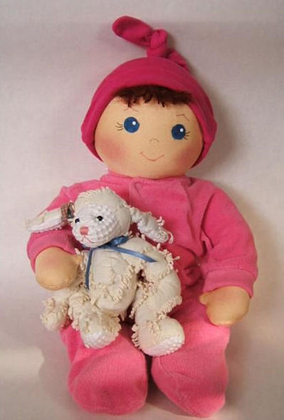 """Baby Bows About 18"""" to 20"""" long with 2 faces.  Cloth Doll Baby By Judi Ward.  Free E-Pattern"""