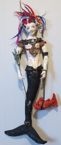 """REIF - Guardian Of The Deep - 27"""" Wall Merman Cloth Doll Pattern by Sharon Mitchell"""