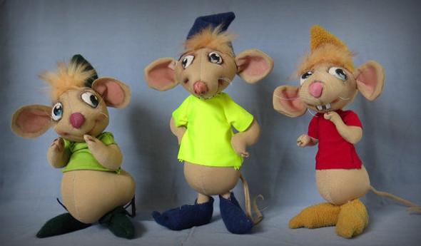 Three Kind Mice,  Cloth Animal Doll Pattern by Sharon Mitchell