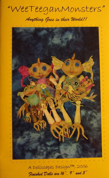 """Weeteegan Monsters Cloth Doll Pattern by Dollscapes Designs - 16"""", 9"""" and 5"""" dolls"""