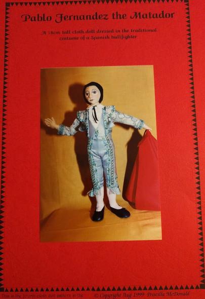 Pablo Fernandez The Matador - 18cm Cloth Doll Pattern by Priscilla McDonald