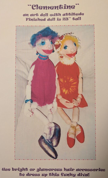 """Clementine Cloth Doll Pattern - an art doll with attitude.  Finished doll is 23"""" tall."""