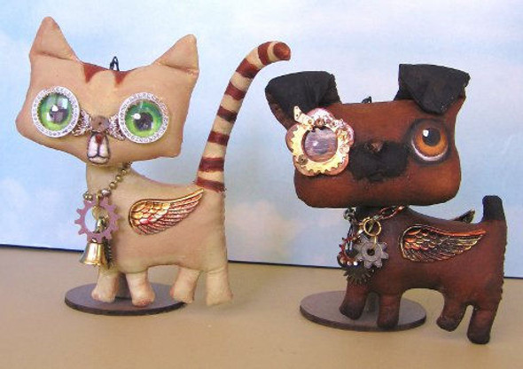 """Fun 5"""" steampunk dog and cat all geared up for the holidays! - Cloth Doll Pattern"""