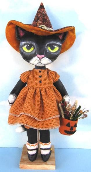 Black Cat,  Halloween Cloth Doll Making Pattern