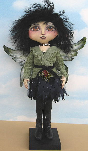"""Tyvek wings and boots adorn this very cool 16"""" painted fairy."""
