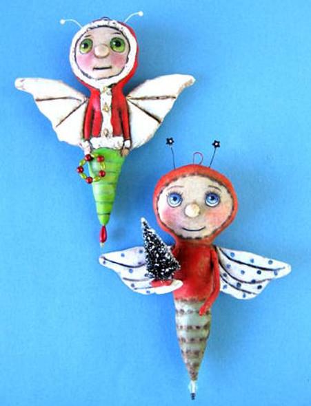"6"" painted fabric - Christmas Bugs"