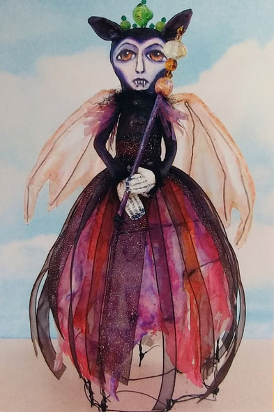 """11"""" Vampire with wire skirt Cloth Doll Pattern"""