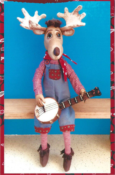 "Banjo Moose – 17"" Painted Muslin Moose Cloth Doll Pattern"