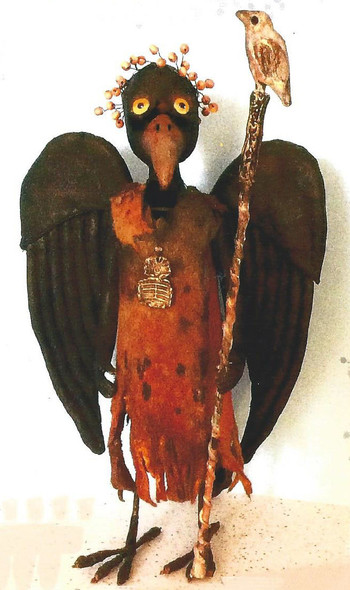 """Standing Crow – 11"""" Painted Fabric Doll Cloth Doll Making Pattern by Susan Barmore"""