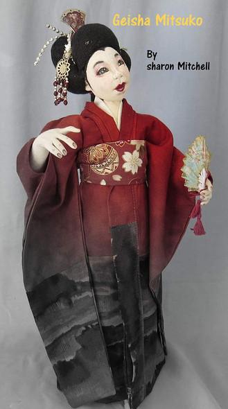 Geisha Mitsuko, 16-inch Stump doll  -  Cloth Doll Pattern by Sharon Mitchell