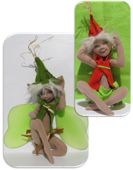 """Pix & Pax, 9"""" pixie/elf/fairy doll sewing pattern -  Cloth Doll Pattern by Sharon Mitchell"""